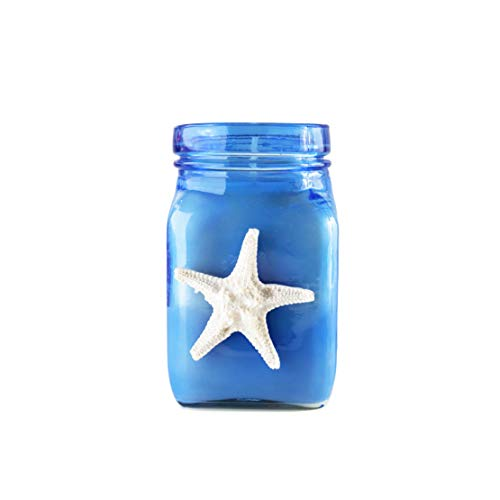 BB Candles Mermaid Shore Artisan Hand Poured Candle, Natural Soy Wax Candle, Fragrant Coastal Candle with Strong Scents, 8oz, 50+ Hours Burn Time (Ocean Tide Scent, Blue Jar)