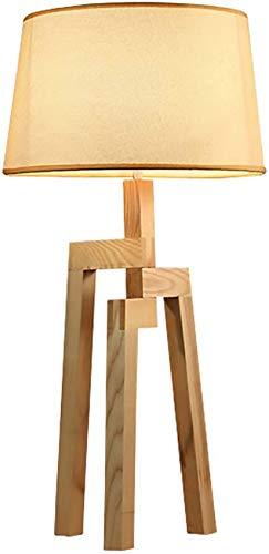 QTWW Lámpara de mesita de Noche Moderna Lámpara de Escritorio de dormitorios creativos con Pantalla de Tela y trípode de Madera Estudio Decorativo Iluminación de Lectura para Sala de Estar Oficin