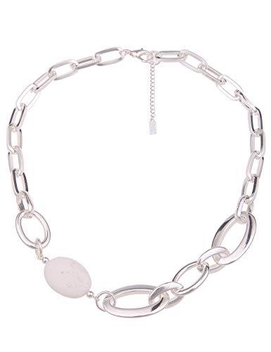 Leslii Damen-Kette Statement Naturstein Glieder-Kette Stein-Kette Kurze Halskette Silberne Modeschmuck-Kette Silber Weiß