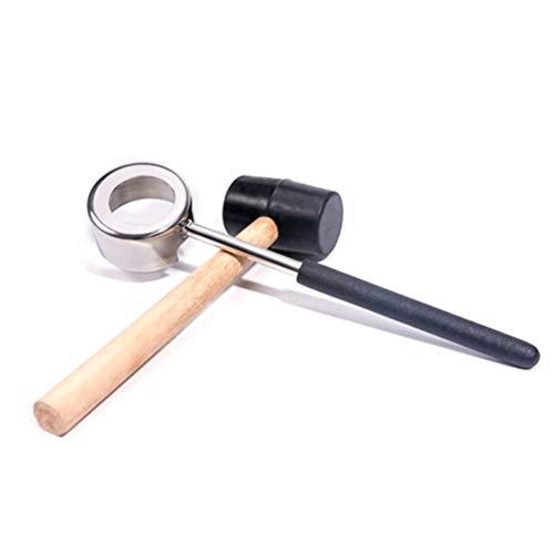 ZGQA-GQA Juego de 2 abrebotellas de coco práctico y ligero, de acero inoxidable con mazo de madera.
