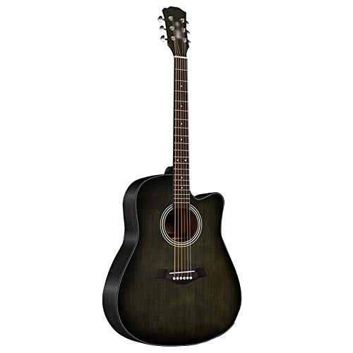 BAIYING Guitarra, 41 Pulgadas Chapa De Madera Maciza Tono Cálido Sentirse Cómodo Tono De Acorde Ajustable Estudiante Adulto Guía para Principiantes Guitarra Folk Pop, 2 Colores