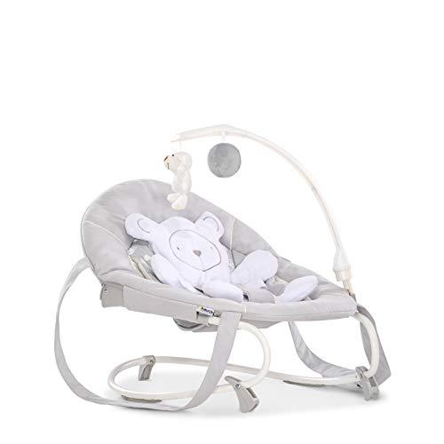 Hauck Leisure Babywippe ab Geburt bis 9 kg mit Schaukelfunktion, abnehmbaren Spielbogen, Sitzverkleinerer, verstellbare Rückenlehne, Sicherheitsgurt, Tragegriffe, kippsicher, tragbar – grau weiß