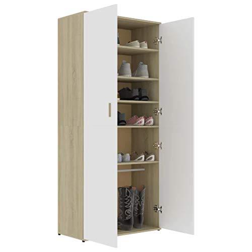 GOTOTOP Zapatero de 80 x 39 x 178 cm con 2 puertas, 6 estantes y una barra suspendida, de aglomerado, para entrada, dormitorio, blanco y roble Sonoma