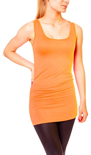 Easy Young Fashion Damen Basic Tank Top Träger Hemd Longtop Unterhemd Extra Lang Skiny Fit One Size Orange