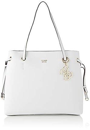 Guess Digital Charm Logo Shopper, Bolso de Mano para Mujer, Bianco, Talla única