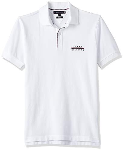 Tommy Hilfiger Herren Logo Embroidery Regular Polo Poloshirt, Weiß (White Ybr), Medium