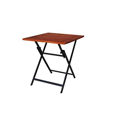Ambientehome Aluminium Klapptisch mit Tischplatte aus Akazie 70x70 cm Balkontisch Beistelltisch 50220, grau/braun