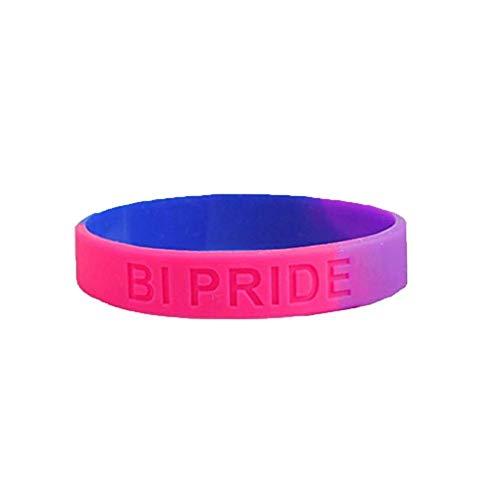 judao 2 pcs Bisexualität Silikon Armband Schwul Regenbogen Armband, Gay Pride Silicone Wristband,