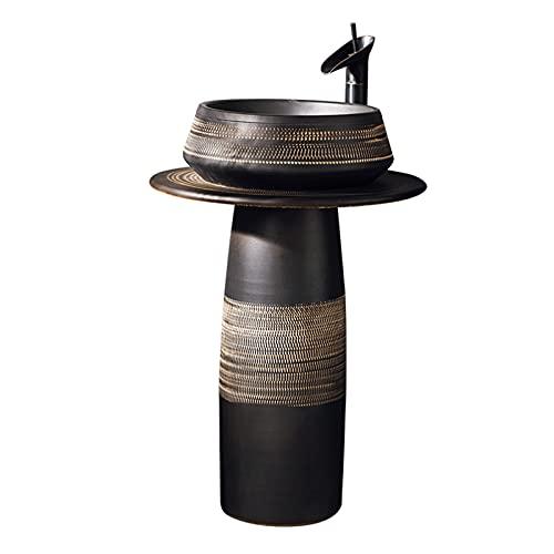 WKZ Lavabo De Pie Cerámica Vintage Ronda Negro,Al Aire Libre Lavabo Pequeno ,Robusto Y Duradero Lavabo Pedestal Lavamanos Bano con Pie Los 80 * 40cm(Color:Fregadero de Pedestal)