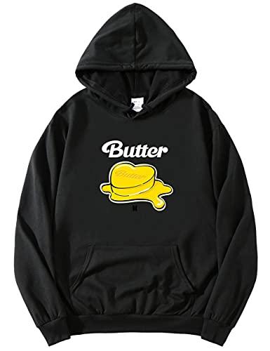kpop Merch Butter Hoodie – Pullover Jungkook V Jin Suga Jimin J-HOPE RM Funny Hoody ARMY Unisex Gr. 4X-Large, Schwarz