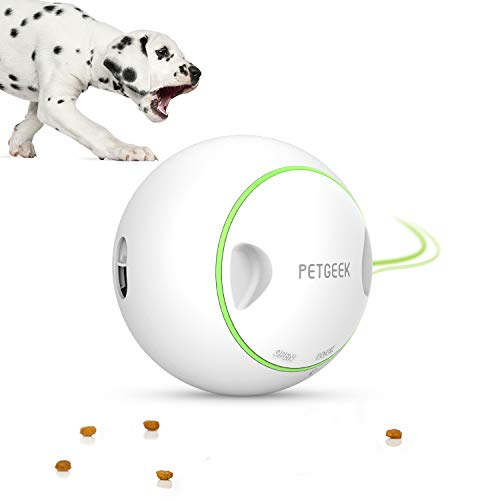 PETGEEK Automatic Dog Treat Ball, Pet IQ Treat Ball Dog Toys Boredom - Interactive Treat Dispensing Dog Toys, FDA Certificate ABS Material Excercise Ball for Dogs Diamater 5.7 Inches, White Color