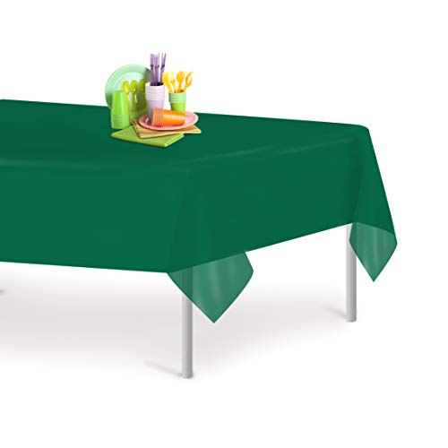 Dark Green 6 Pack Premium Disposable Plastic Tablecloth 54 Inch. x 108 Inch. Rectangle Table Cover By Grandipity