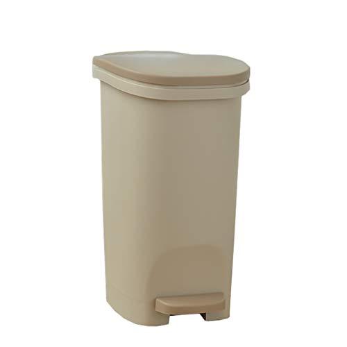 Mülleimer Poubelle Abfalleimer Mit Deckel Abfallbehälter Pedal Typ Papierkassette Dichtung Home Küche Wohnzimmer Badezimmer 3 Farbe Rollsnownow (Color : Khaki, Size : 13L)