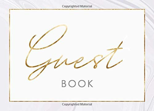 Guest Book: Marble and Gold Design • Guestbook perfect for any event, party or occasion - Birthday, Bridal Shower, Wedding, Baby Shower, Anniversary, ... Vacation Home, Visitors or Memorial Service