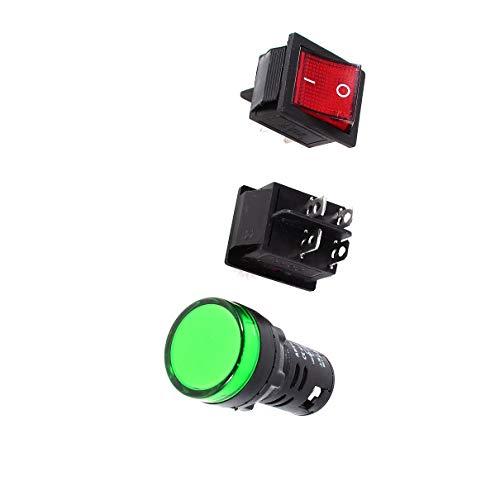 Aexit Wippschalter 2PCS Rot mit DC 12V Pilot LED Lampe AD16-22D / S Grün (9ef56e01aed347bd0555d57e82431788)