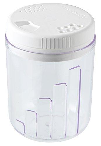 Fackelmann Streudose für Gewürz, Gewürzstreuer mit 3 verschiedenen Öffnungen, Gewürzdose aus Kunststoff (Farbe: Weiß/Transparent), Menge: 1 Stück