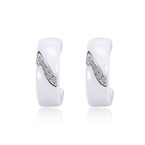 ZHWM Ohrringe Ohrstecker Ohrhänger 925 Sterling Silber Ohrringe Für Frauen Schmuck Elegante Weiße Keramik Ohrringe Mit Zirkonia