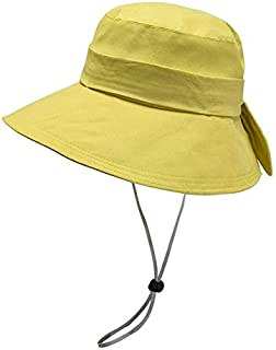 JJXSHLFL Hat Female Spring and Summer New Big Fisherman hat Travel Windproof Sunhat (Color : Yellow)