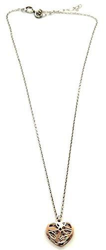 MAGICMOON - Deliziosa collana da donna con ciondolo doppio cuore rosè decorato argento 925 rodiato ipoallergenico MISURA REGOLABILE