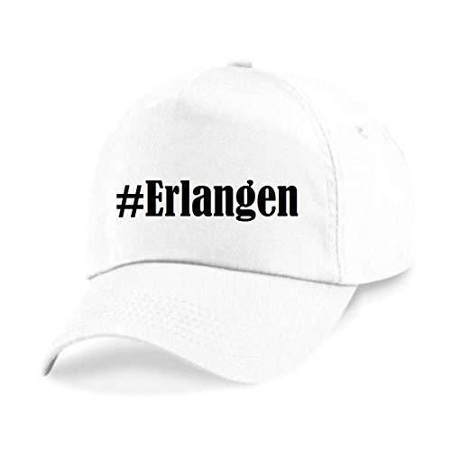 Reifen-Markt Base Cap Hashtag #Erlangen Größe Uni Farbe Weiss Druck Schwarz