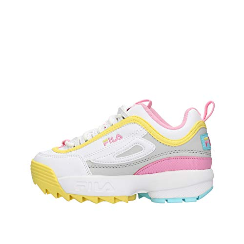 Zapatos de niña FILA Disruptor CB JR en Cuero Blanco 1010850.92X