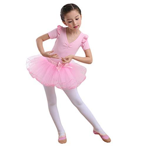 Vestido Maillot de Ballet para Niña Manga Larga Top y Tutu Falda Princesa Fiesta Traje de Baile 2pcs