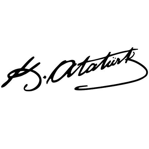 ATATÜRK IMZA Aufkleber Auto Sticker Autosticker Autoaufkleber Araba Yapiskan Mustafa Kemal Ata Wandtattoo (20cm (B) x 6cm (H) XS, Schwarz)