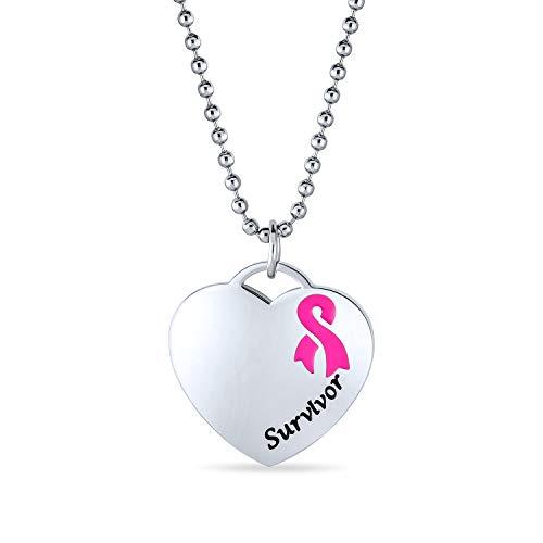 Bling Jewelry Gravierbaren HerzRosa Bandschleife Brustkrebsüberlebender Kette Mit Anhänger Für Damen Edelstahl Mit Kette