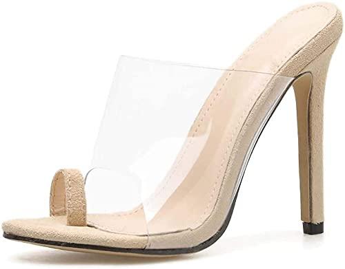 Las Sandalias de Estilete de Estilo de la Tanga Clara de Las Mujeres 2 Sliplers de Diapositivas cuadradas Zapatos de Vestir de Fiesta Diaria Tacón 11 cm-AlbaricoT_11cm_38 Excellent