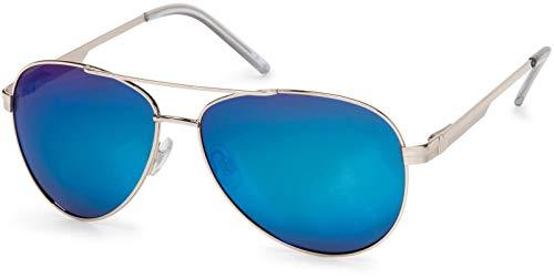 styleBREAKER Gafas de sol polarizadas para aviador, gafas de aviador con bisagra de resorte, estuche y paño de limpieza, unisex 09020046, color:Marco plateado/vidrio de espejo azul