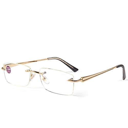 Randloze leesbril, blauwe blokkeerbril, metalen scharnier +4