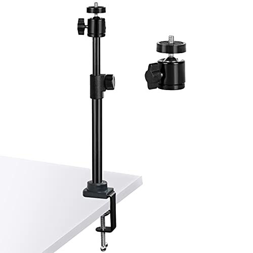 RUICHUANG Heavy Duty Desk Mount Stand,14.5-27.5 inches (37-70cm), Tabletop C Clamp Mount Stand with 360° Rotatable Ball Head for DSLR Camera, Ring Light, Video Light, Panel Light