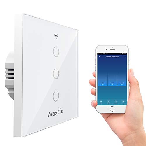 Alexa Smart Lichtschalter, Maxcio Alexa Wlan Lichtschalter 3 Weg, Kompatibel mit Alexa, Google Home, APP Fernbedienung, Timer Funktion und Überlastungsschutz, Nullleiter Erforderlich