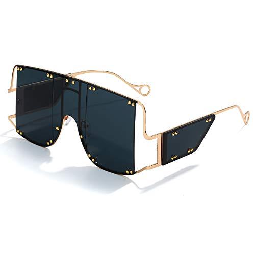 GUVIVI - Gafas de sol cuadradas de gran tamaño para mujer