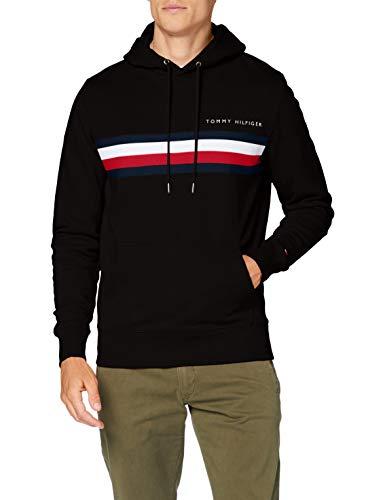 Tommy Hilfiger Herren Hilfiger Logo Hoody Pullover, Black, L
