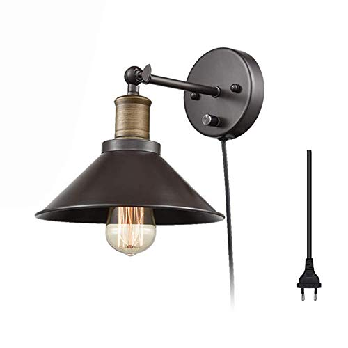 QEGY E27 Lámpara de Pared Interior Industrial con Interruptor, Ajustable Giratorio Aplique de Pared Sala de Estar con Enchufe y 1,8m Cable, Extensibl Negro Luz de Pared Pasillos Oficina Iluminación