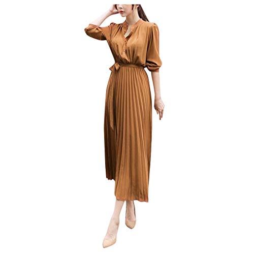 SO-buts Mujer Vestido Largo Con Cuello En V De Color Sólido Casual Manga Larga Cintura Con Viga Vestido Largo Plisado De Fiesta De Gran Swing (Caqui,S)