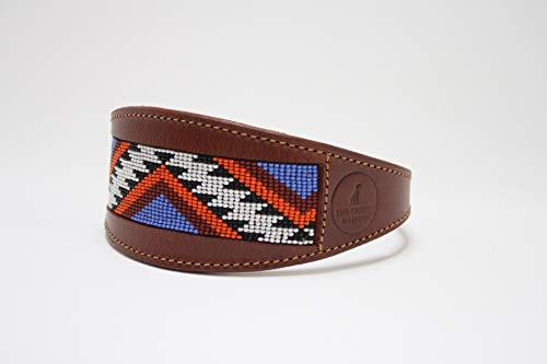 Navajo - Collar ancho acolchado de piel de oveja azteca y ante suave, diseño de galgo, perro saluki (mediano)