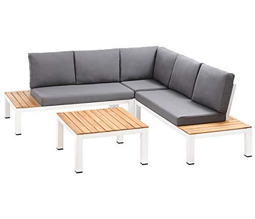Dehner Lounge Malibu, 4 Piezas, Aluminio/Madera de Acacia FSC, Blanco/marrón/Gris, Incluye Acolchado