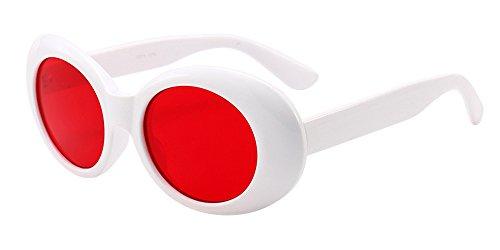 BOZEVON Retrò Occhiali da sole Ovali - Vintage UV400 Occhiali Donna & Uomo Bianco-Rosso