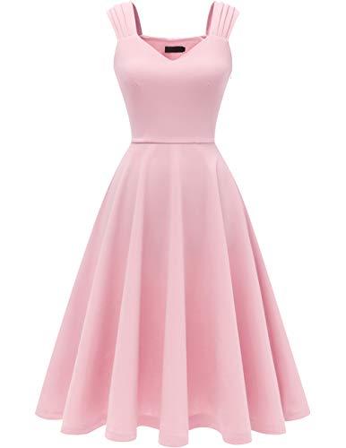 DRESSTELLS Damen 1950er Midi Rockabilly Kleid Vintage V-Ausschnitt Hochzeit Cocktailkleid Faltenrock Pink 3XL