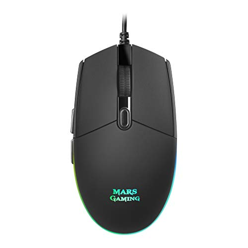Mars Gaming MMG Ratón RGB Flow, Sensor Óptico 3200 DPI, Antideslizante Negro