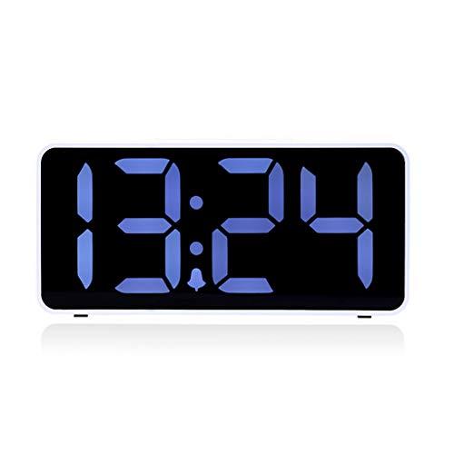 TQJ Despertadores Digitales Gran pantalla luminosa silenciador de alarma de reloj USB Plug-in LED de alarma del reloj de la sala dormitorio de noche Despertador Reloj Digital Blanca Despertadores Digi