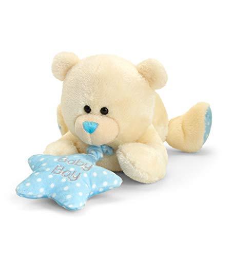 Lashuma Keel Baby Plüschtier Bär mit Spieluhr Blau, Kuscheltier Teddy liegend 25 cm