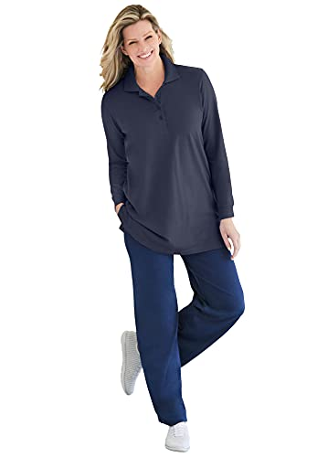 Woman Within Women's Plus Size Long-Sleeve Polo Shirt - 4X, Navy Blue