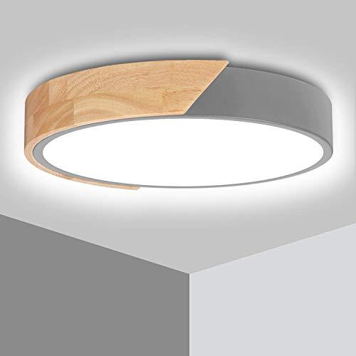 LED Deckenleuchte Holz 24W Ketom Deckenlampe Rund Modern 6000K Kaltweiß 2400LM Wohnzimmerlampe ersetzt 150W Glühlampe, für Schlafzimmer, Büro, Küche, Wohnzimmer, Flur, Ø30cm