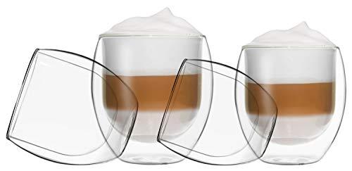 Verres Duos Feelino à double paroi, tasse thermos, pour garder les boissons chaudes ou froides plus longtemps, Verre, Lot 20 : lot de 4 Jumbo., 4er-SET