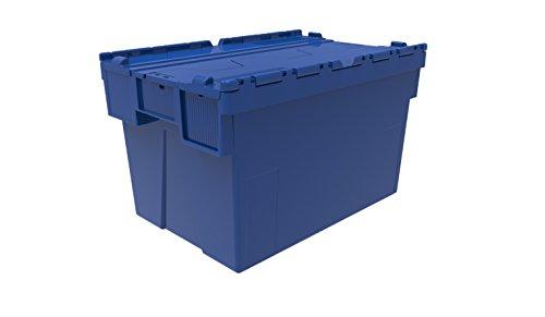 1 x farbige beigefügten Plastikbox mit Deckel, 65 Liter, Rot, Blau oder Grün, Kunststoff Box Crate Handtasche mit Tessellated-Lid-Design, mit Deckel