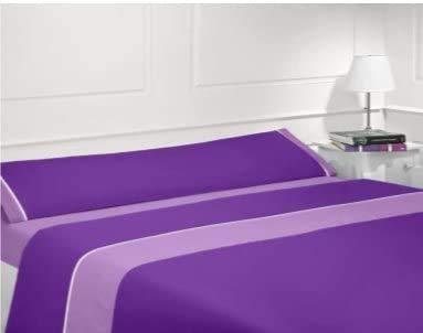 Energy Colors Textil - Hogar Juego Sábanas De Verano Lisas 3 Piezas para Cama Grande de 150 x 190/200 cm (Lila/Morado)