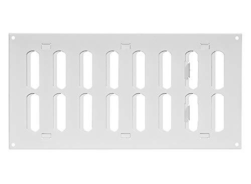 300x150mm Schiebegitter aus Stahlblech - Weiß Lüftungsgitter Abluftgitter